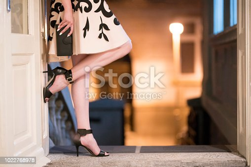 Unrecognizable young woman leaning at the entrance of the night club and posing; cut out