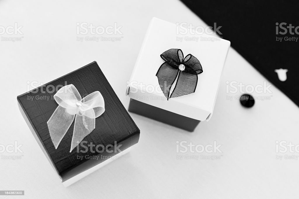 Black and White gift or favour boxes stock photo