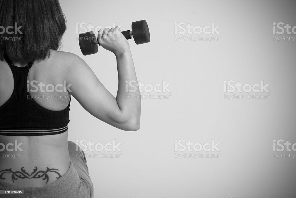 Black And White Girl Exercising royalty-free stock photo