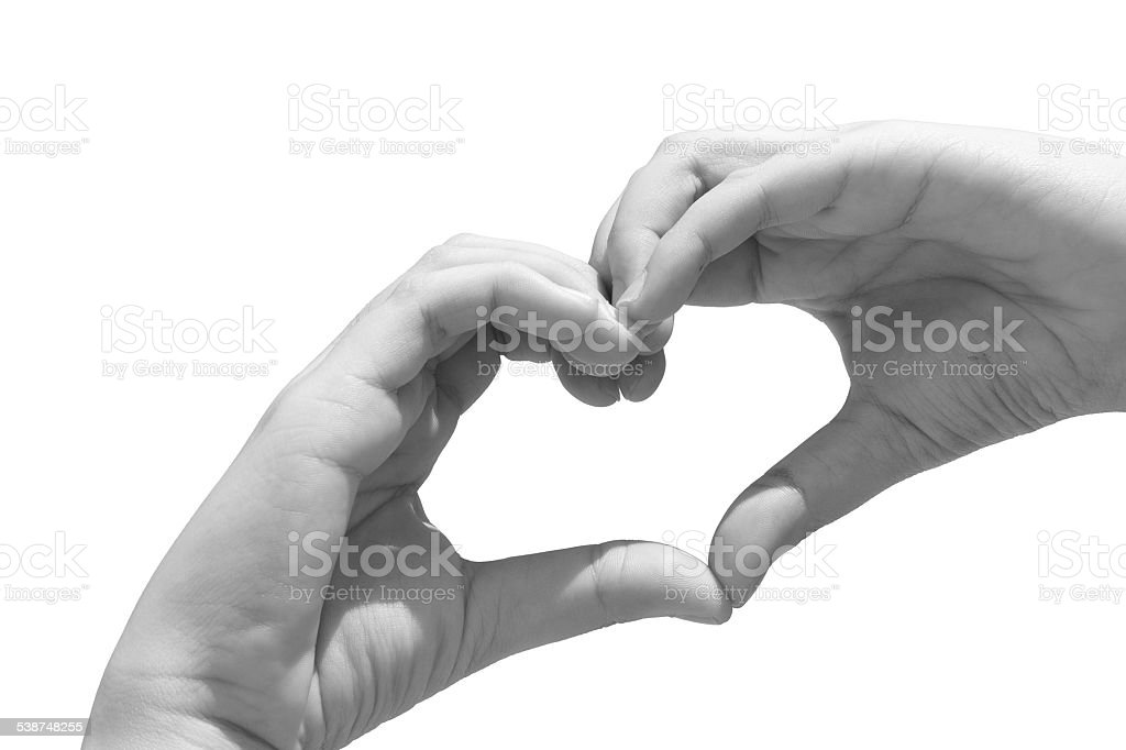 Black and white Girl hand in heart form love stock photo