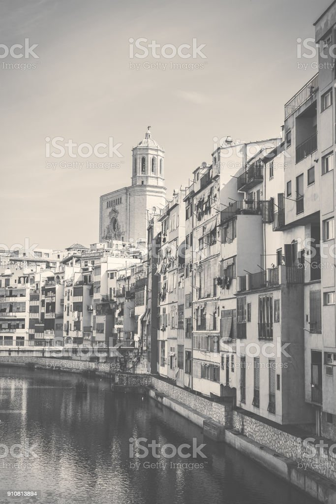 Black and white girona stock photo