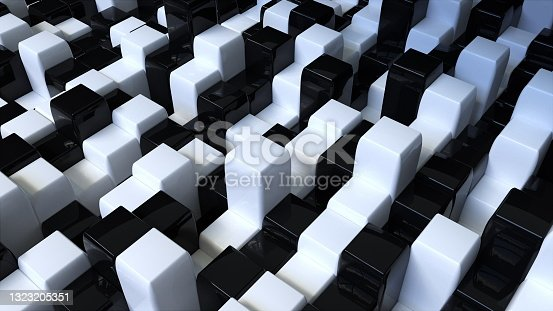 istock Black and white glossy cubes 1323205351