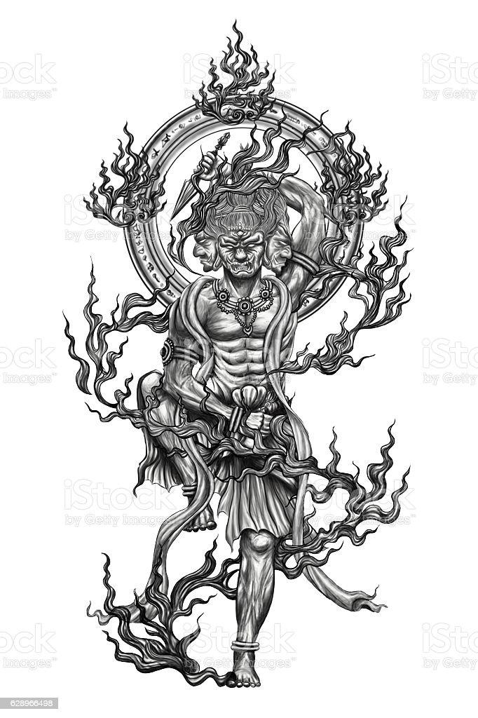 Black and white god titan of japan tattoo. Black and white god titan of japan tattoo.Tattoo art and design paint on back. Aomori Prefecture Stock Photo