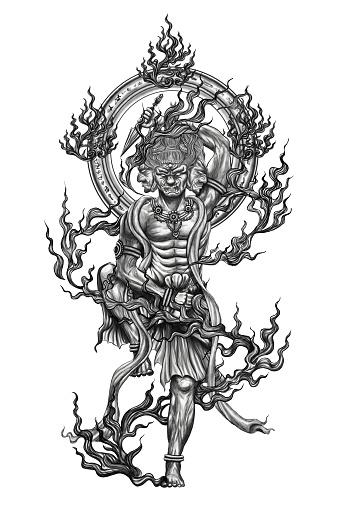 Black And White God Titan Of Japan Tattoo Stock Photo - Download Image Now
