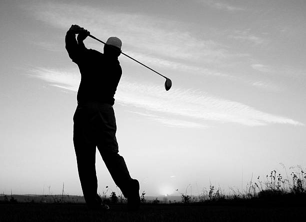 golf golf swing silhouette black and white pictures images and stock photos