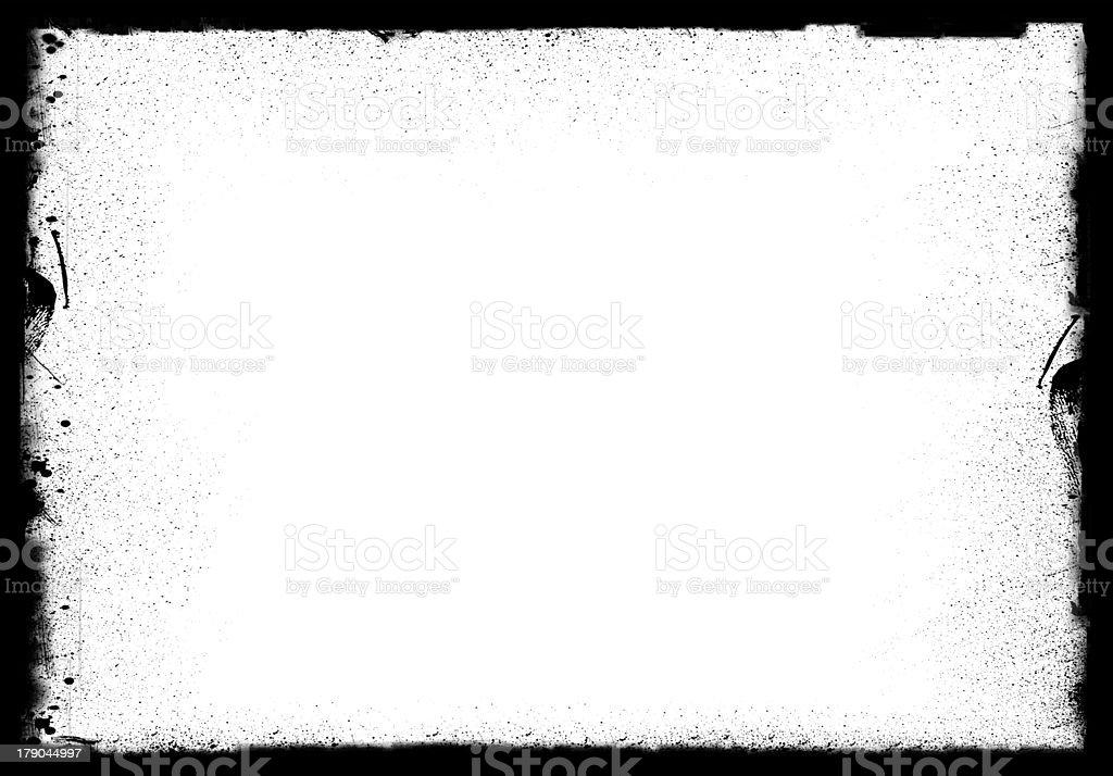 Black and white grunge smudged border frame background stock photo