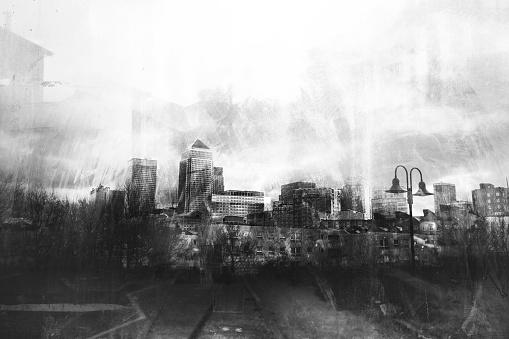 Black and white grunge urban skylines