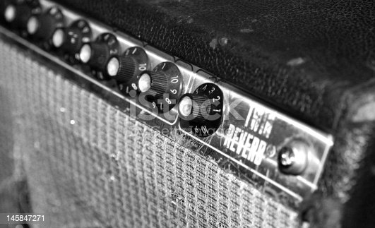 Black and white guitar amplifier photographed outside a blues club in San Diego, CA