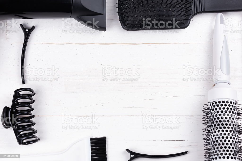 Black and white hair styling tools. stock photo