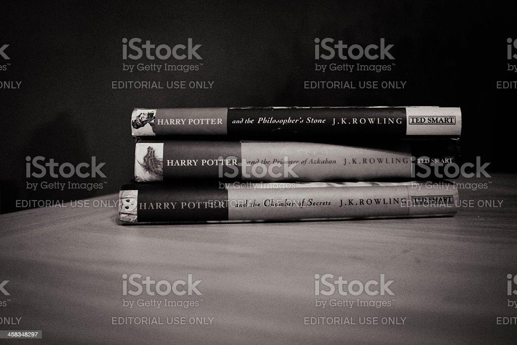 Fotografía De Blanco Y Negro Harry Potter Libros Y Más Banco De