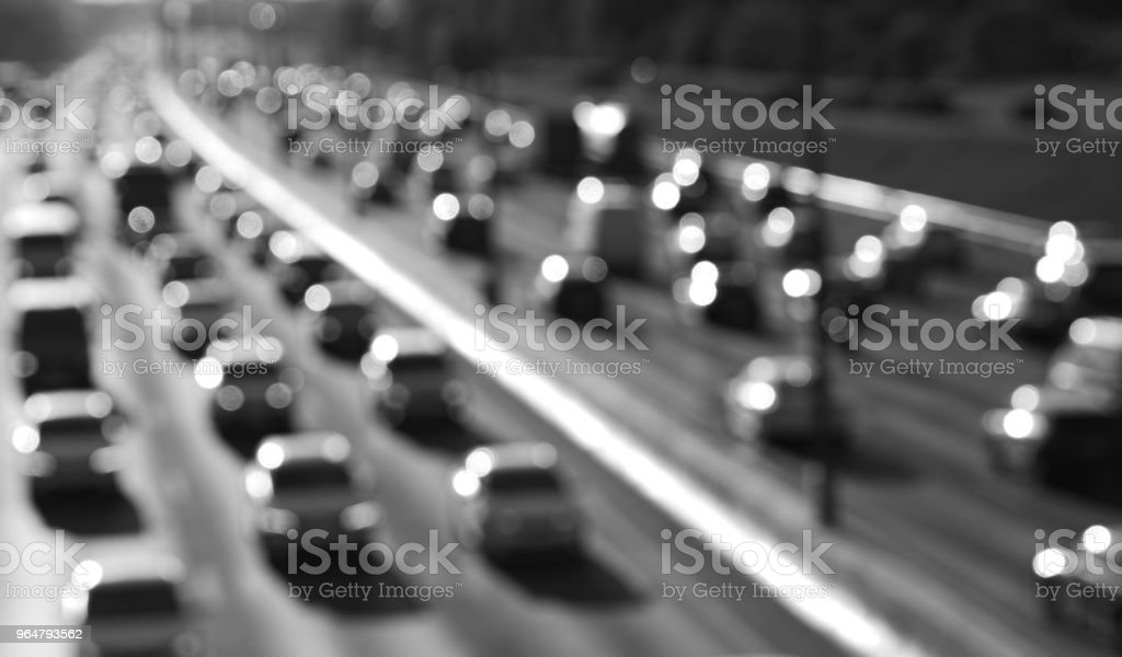 Black and white highway car traffic bokeh background royalty-free stock photo
