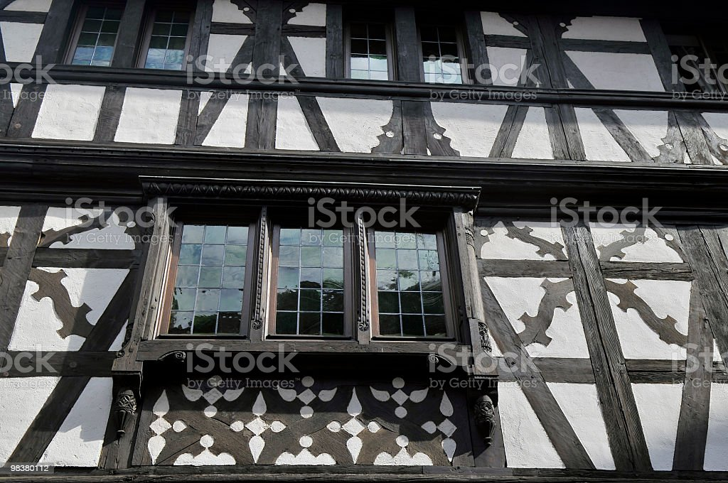Black and White  House Strasbourg royalty-free stock photo