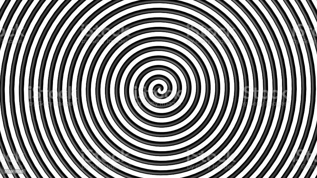 Black and white hypnotic circle stock photo