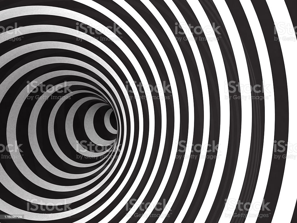 Black and white hypnotic concentric circle tunnel royalty-free stock photo