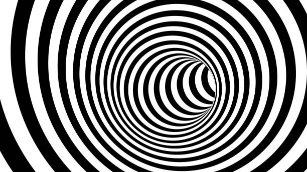 Black and white hypnotic spiral stock photo