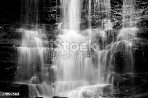 Black and White (monochrome) image of a waterfall