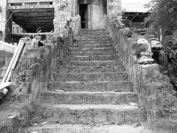 black and white image of an old city part - baguio city stock photos and pictures