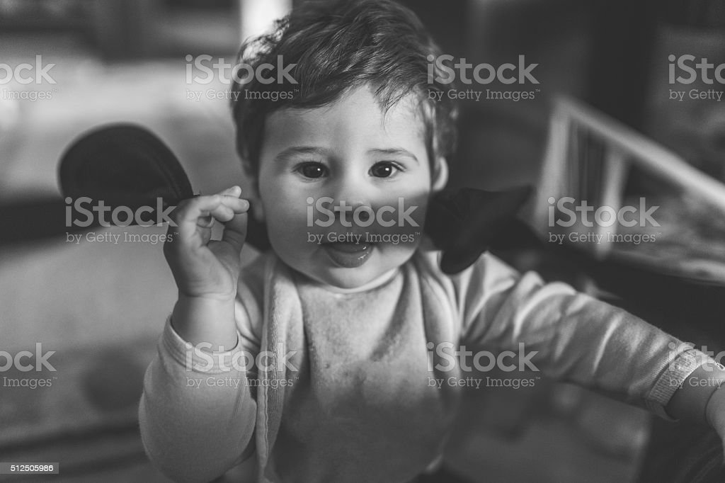 Black And White Image Of Cute Baby At Home Stock Photo Download Image Now Istock