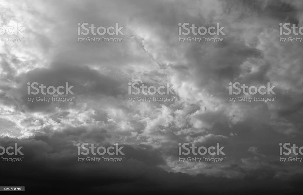 Black and white image of Gray cloud on the sky.
