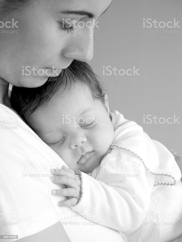 Black And White Image Of Mother Holding Sleeping Baby ...