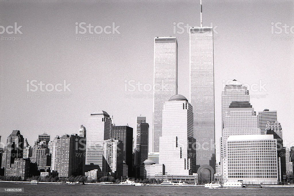 Black and white image of New York City stock photo