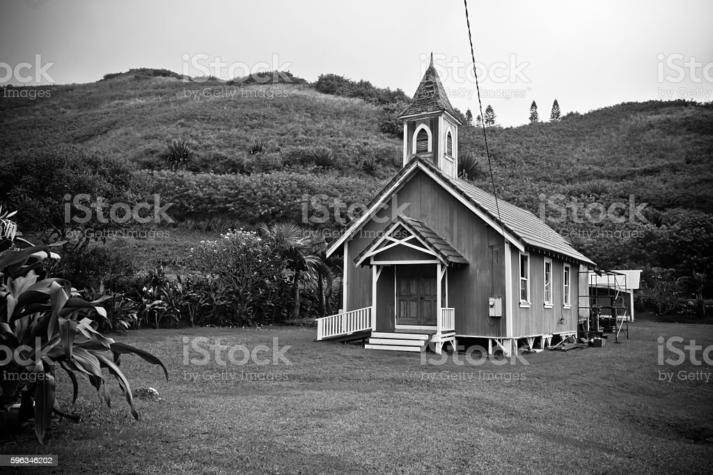 Black and white image of old chapel in Maui Hawaii royalty-free stock photo