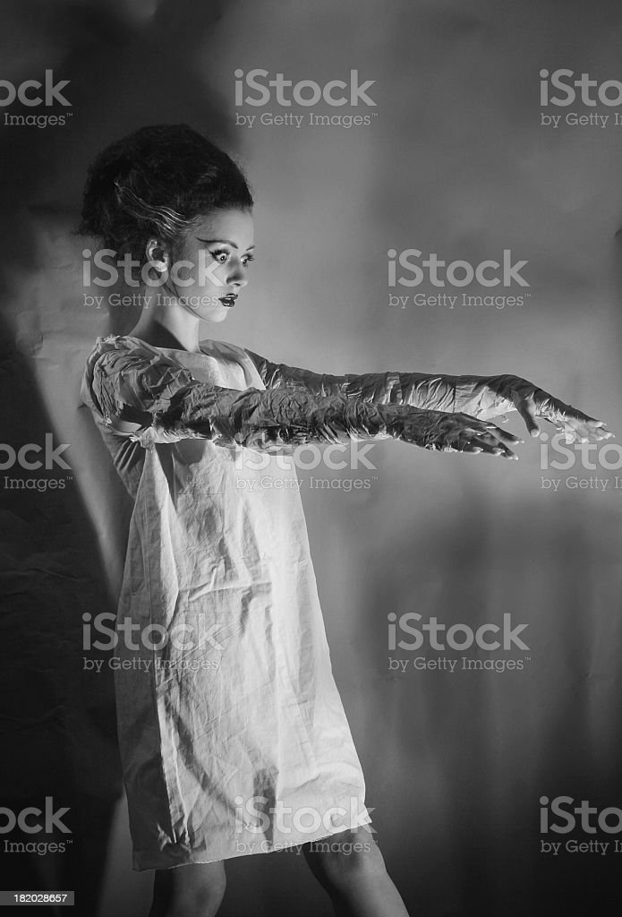 Black and white image of the bride of Frankenstein royalty-free stock photo