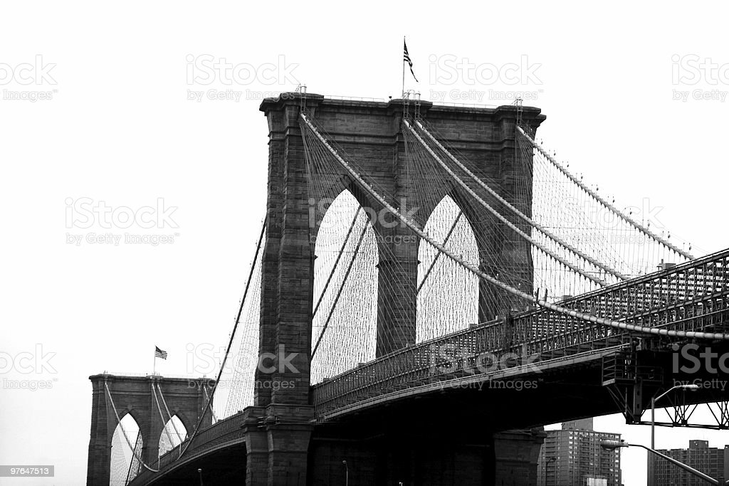 Black and white image of the Brooklyn Bridge stock photo