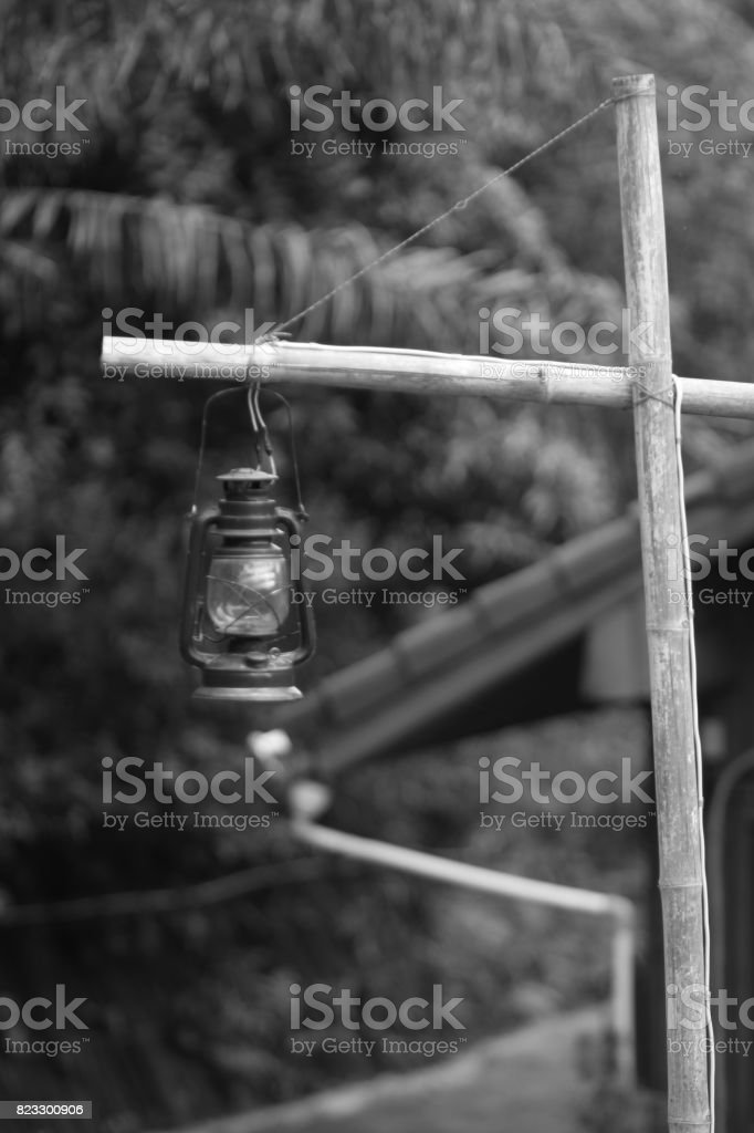 Black and white image of the storm in the resort Khao Yai stock photo