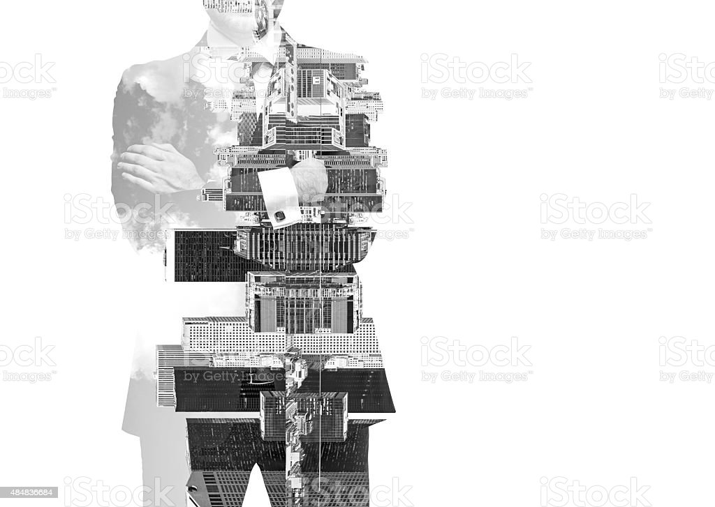 black and white Image of transparent businessman's Silhouettes. stock photo