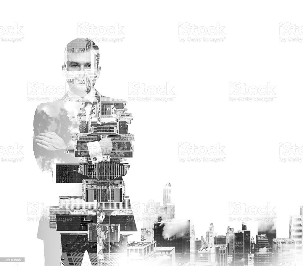 black and white Image of transparent businessman's Silhouettes stock photo