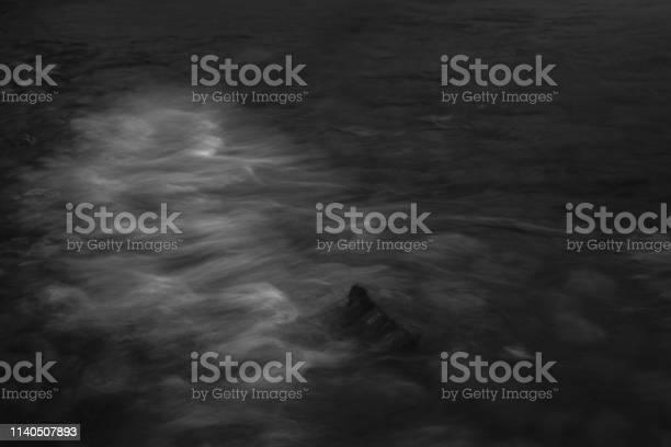 Photo of black and white image of waves rolling over stones