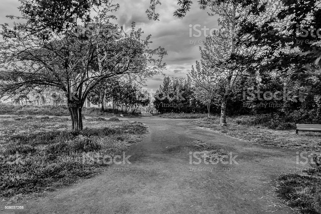 Black and White in Acqueducts Park stock photo