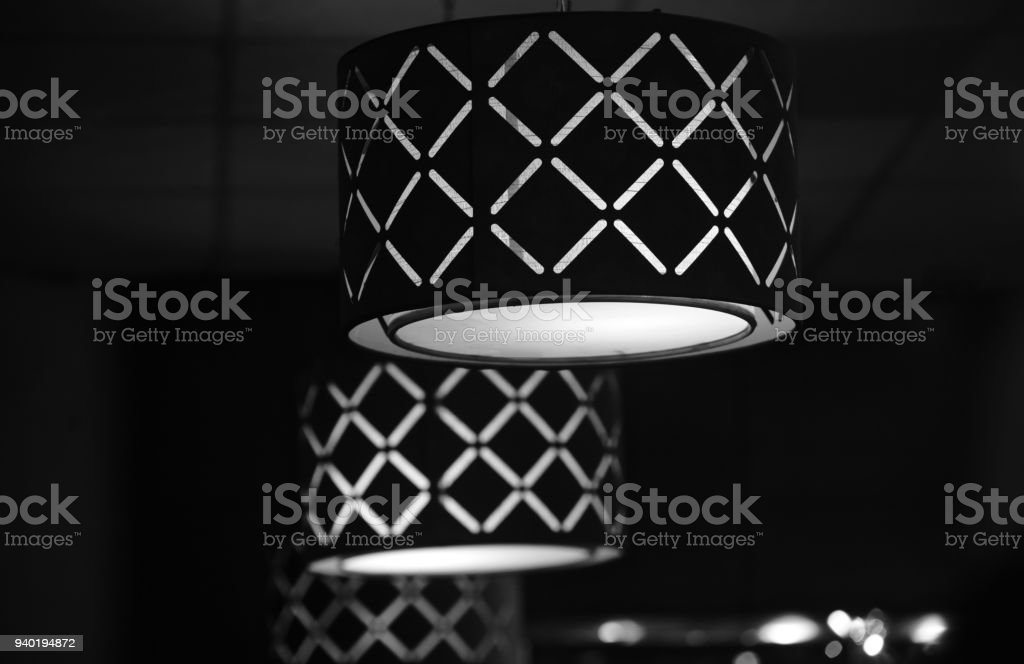 Black and white interior lights unique photo stock photo