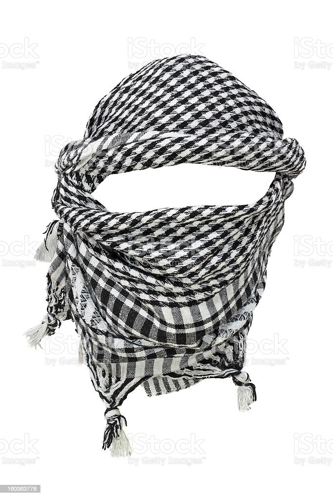 Black and white keffiyeh isolated on a white background stock photo