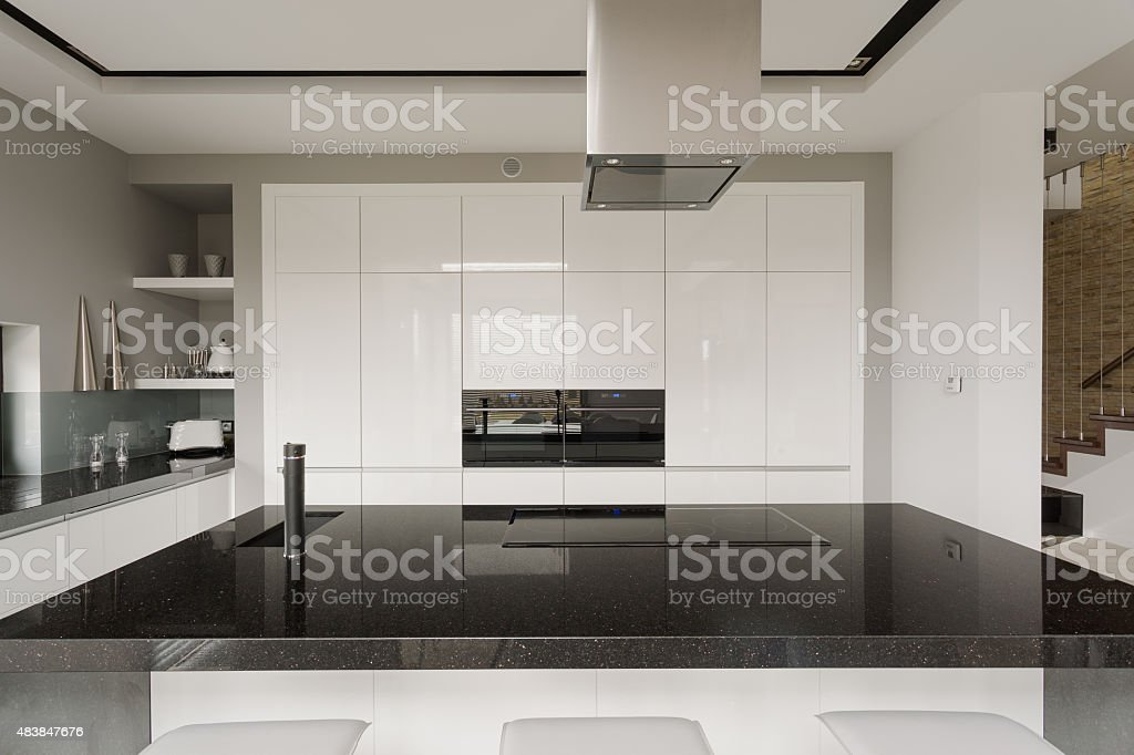Black and white kitchen interior stock photo