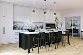 Picture of modern black and white kitchen. Render image.