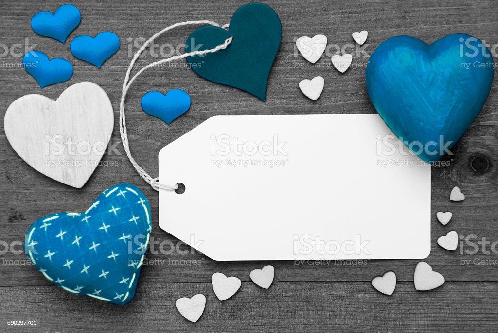 Black And White Label, Blue Hearts, Copy Space royaltyfri bildbanksbilder