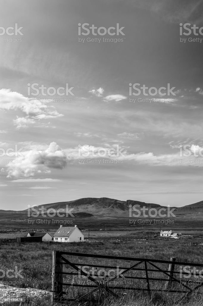 Black and White Landscape and House stock photo