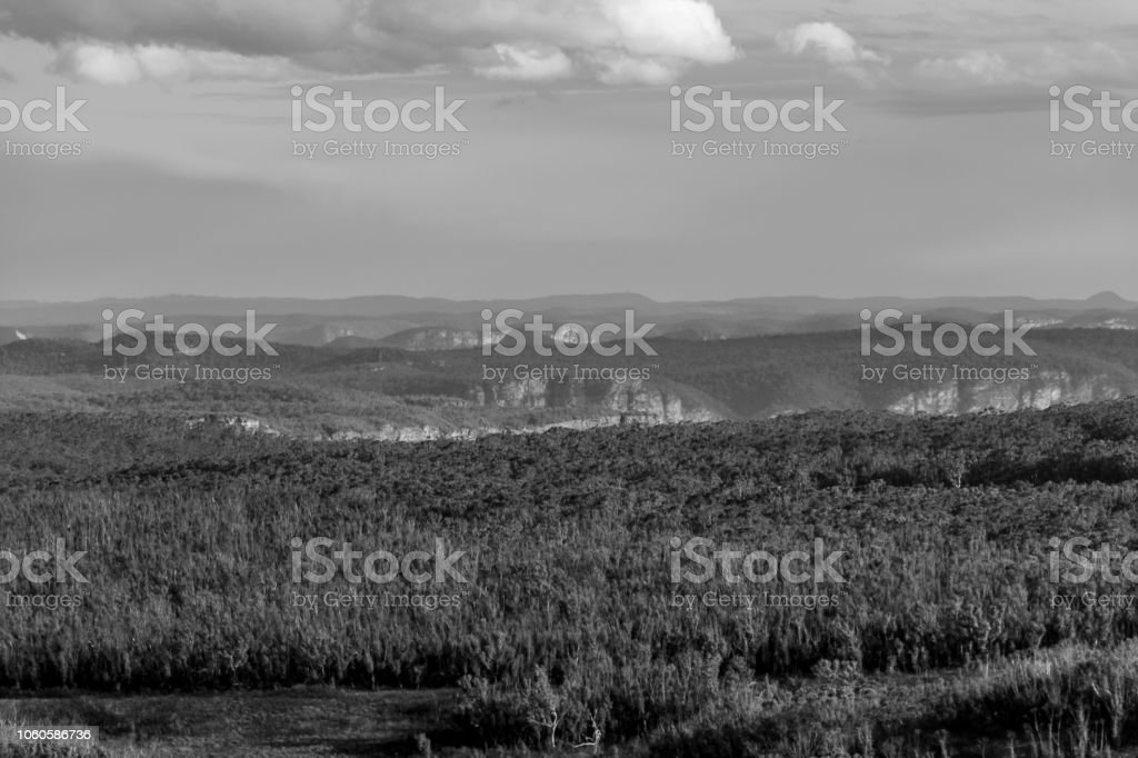 Black and White Landscape, Blue Mountains stock photo