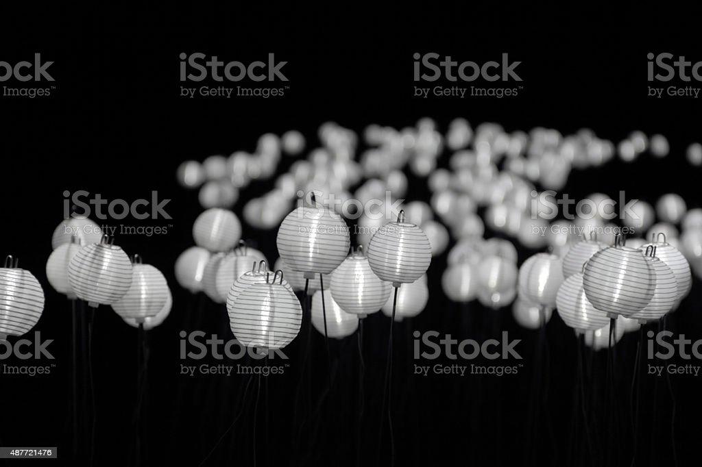 black and white lanterns stock photo