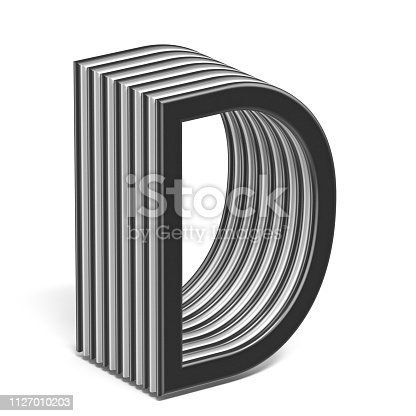583978154 istock photo Black and white layered font Letter D 3D 1127010203