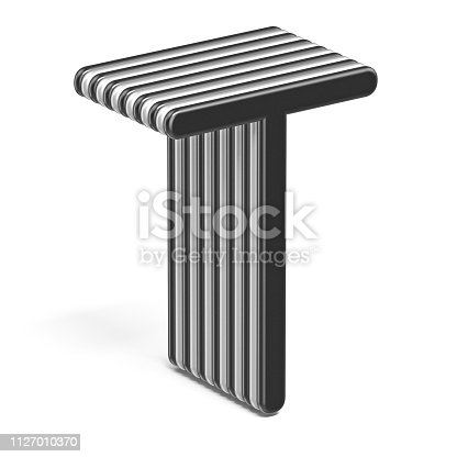 583978622 istock photo Black and white layered font Letter T 3D 1127010370