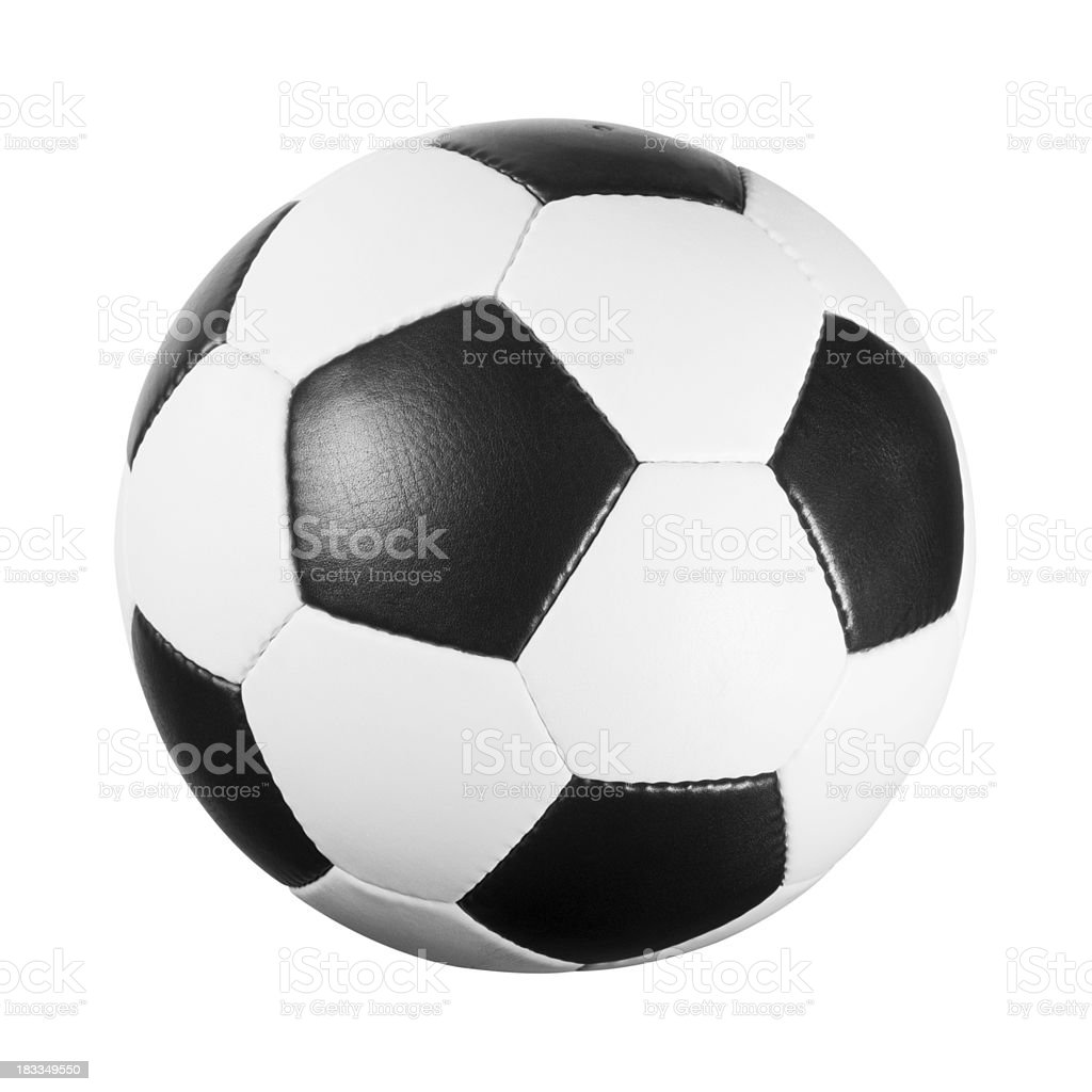 Black and white leather football on white background stock photo