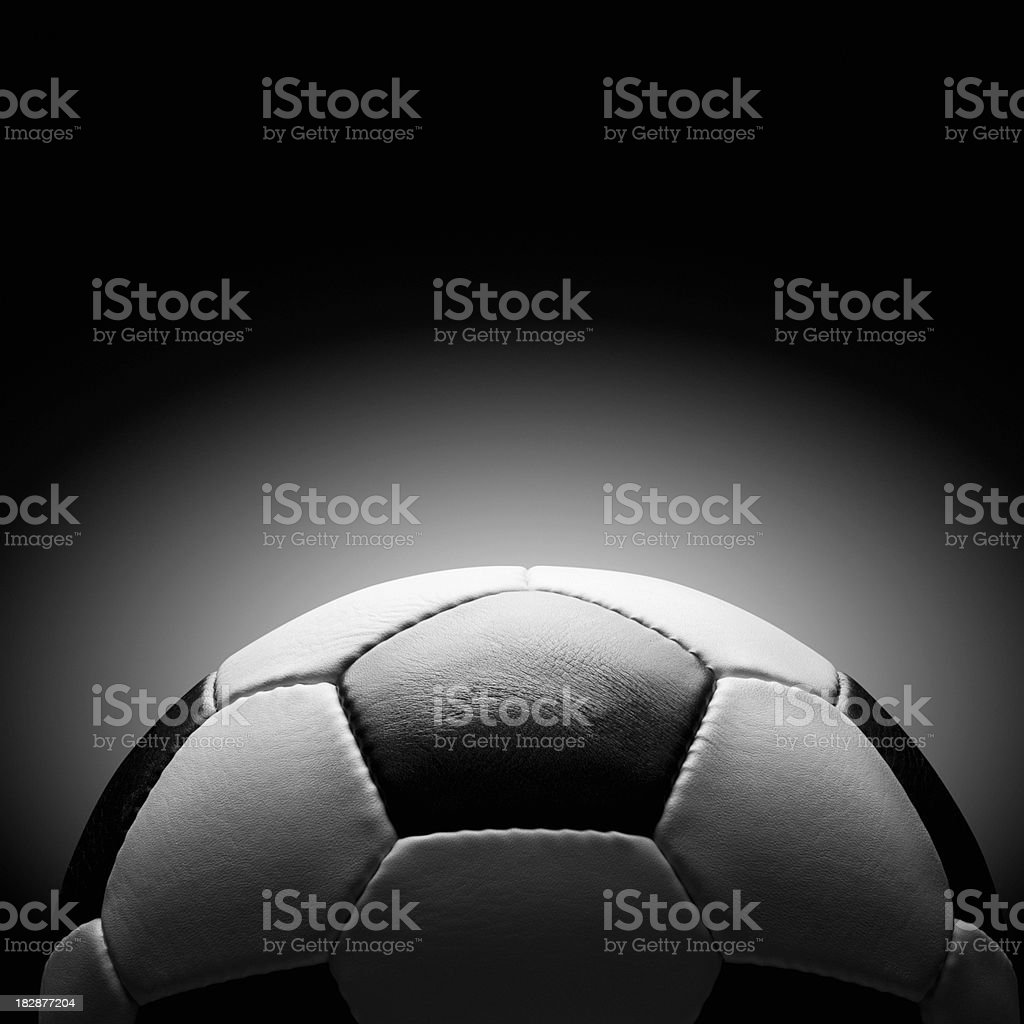 Black and white leather soccer ball royalty-free stock photo