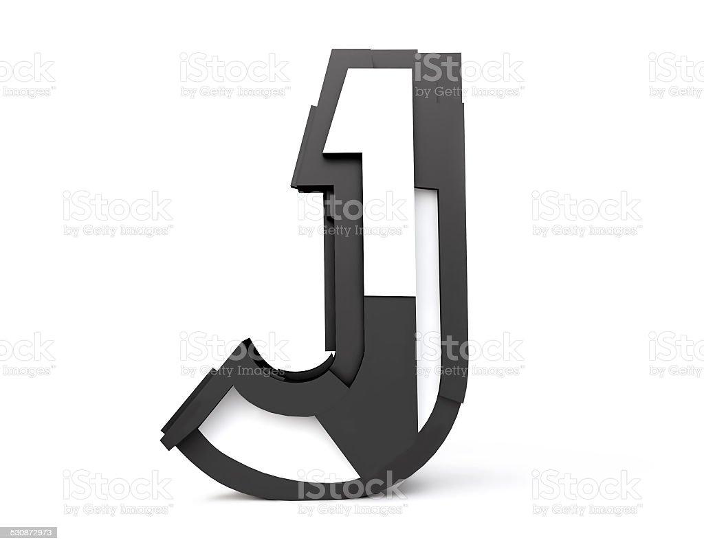 Black and White Letter J stock photo