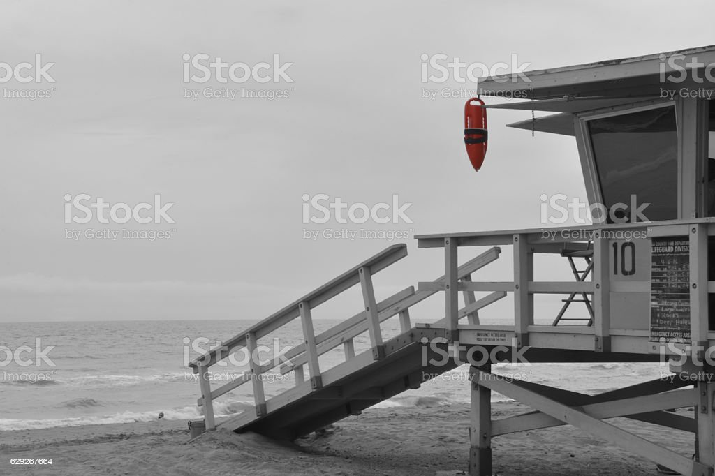 Black and white lifeguard tower stock photo