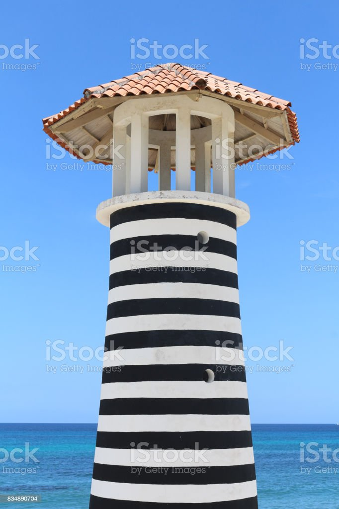 Black and white Lighthouse stock photo