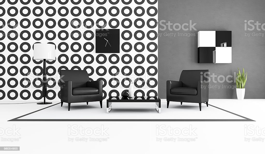 Black and white living room royalty-free stock photo