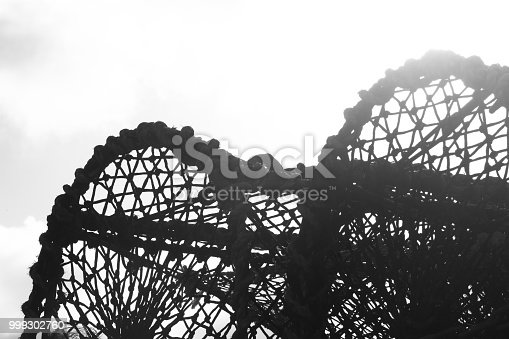 Black and white silhouette of lobster nets on a white background with text space.